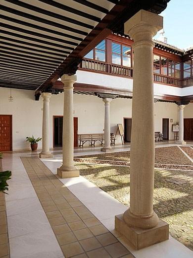 Stock Photo: 1566-358443 Restored interior courtyard (built in 1699) of the Palacio de los Condes de Valdeparaiso, Almagro. Ciudad Real province, Castilla-La Mancha. Spain