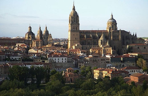 Stock Photo: 1566-359059 Cathedral, panoramic of Salamanca. Castilla-León, Spain