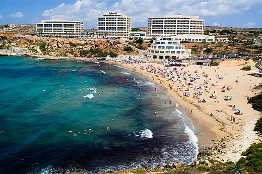 Golden Bay beach. Malta : Stock Photo