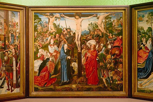 Stock Photo: 1566-359641 Walker Museum (Walker Art Gallery). Master of Aachen Altarpiece, altarpiece (particular). Crucifixion, Mass of St Gregory Triptych, around 1500-1505. Liverpool. England. UK