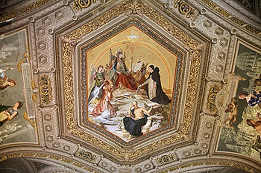 Ceiling decoration along the Gallery of the Candelabra in the Vatican Museum. 2006. Rome. Lazio. Italy. : Stock Photo
