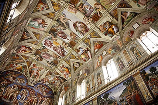 Stock Photo: 1566-360115 Michelangelo´s frescoes on the ceiling and walls of the Sistine Chapel.  2006. Vatican. Rome. Lazio. Italy.