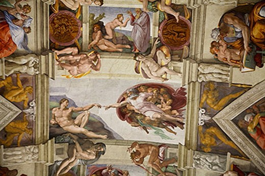 Michelangelo´s frescoes on the ceiling of the Sistine Chapel. 2006. Vatican. Rome. Lazio. Italy. : Stock Photo