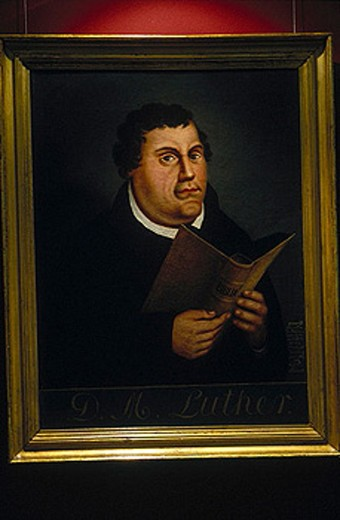 Luther portrait by Lucas Cranach (1525). Luther Museum. Wittenberg. Saxony-Anhalt. Germany. : Stock Photo
