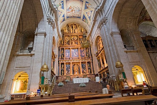 Stock Photo: 1566-360329 Basilica interior. Escorial Monastery. San Lorenzo del Escorial Madrid. Spain