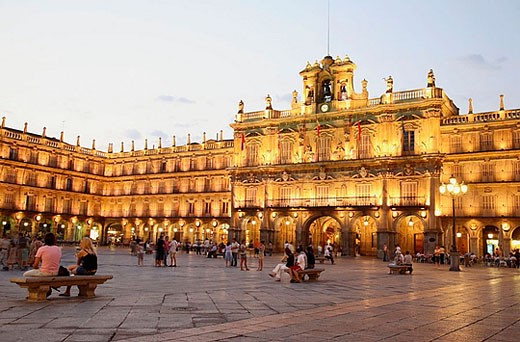 Town Hall in Main Square, Salamanca. Castilla-León, Spain : Stock Photo