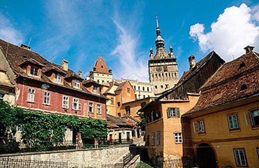 Stock Photo: 1566-360908 Clock tower. Sighisoara. Transylvania. Romania.