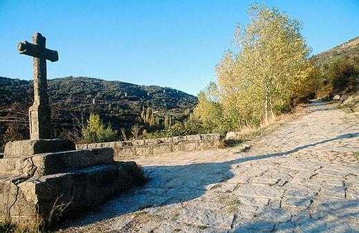 Ruta de la Plata. Roman road. Baños de Montemayor. Cáceres province. Extremadura. Spain. : Stock Photo