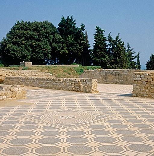 Roman mosaic, Roman ruins of Ampurias. Girona province. Spain : Stock Photo