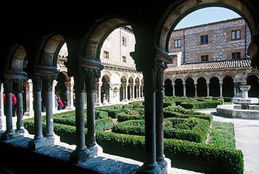 Cloister of Royal monastery of Santa María la Real de Las Huelgas. Burgos province, Castilla-León, Spain : Stock Photo