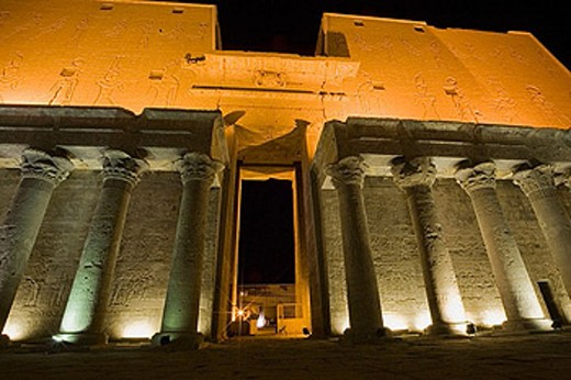 Stock Photo: 1566-361923 Temple of Horus at night. Edfu. Egypt.