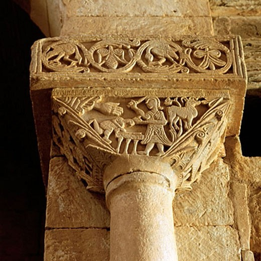 Visigothic capital. San Pedro de la Nave Church. Zamora. Spain. : Stock Photo