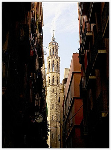 Sea of a tower of Santa Maria del Mar church in Barcelona. Catalonia. Spain. : Stock Photo