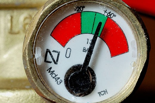 Pressure gauge of  fire extinguisher : Stock Photo