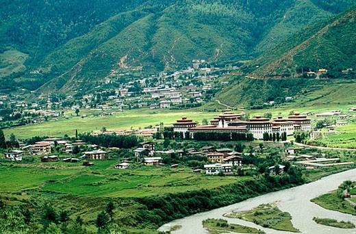 Stock Photo: 1566-363284 Buddhist monastery. Tashichho Dzong. Thimphu. Bhutan.