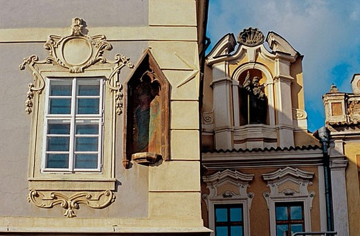 Stock Photo: 1566-365270 Houses decorated in Baroque style. Kutna Hora. Bohemia. Czech Republic.