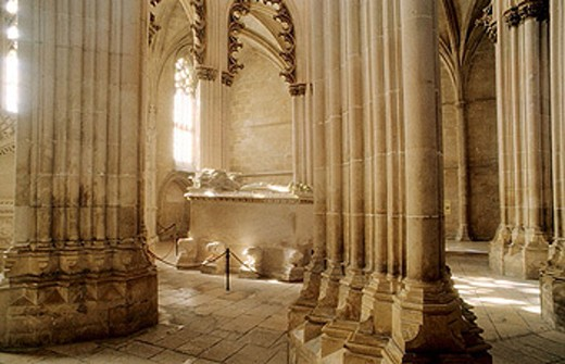 Portuguese Gothic masterpiece and classified in UNESCO´s International Heritage list, the Santa Maria da Vitória Monastery (14th-16th centuries) is a national landmark. Batalha. Center region. Portugal : Stock Photo