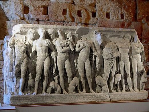 Stock Photo: 1566-366996 Roman sarcophagus, Roman Pretoriat, Tarragona, Catalunya, Spain
