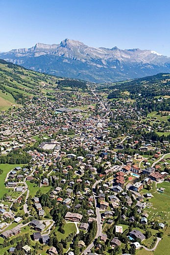 Aerial photography from a plane over Megeve (winter and summer resort) and surroundings. Haute Savoie (74). France : Stock Photo
