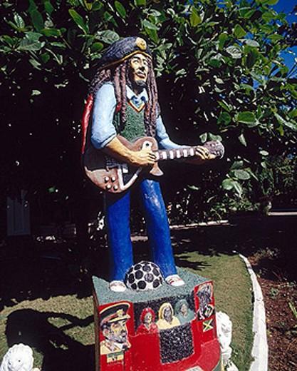 Statue of Bob Marley at Bob Marley Museum. Kinsgton. Jamaica : Stock Photo