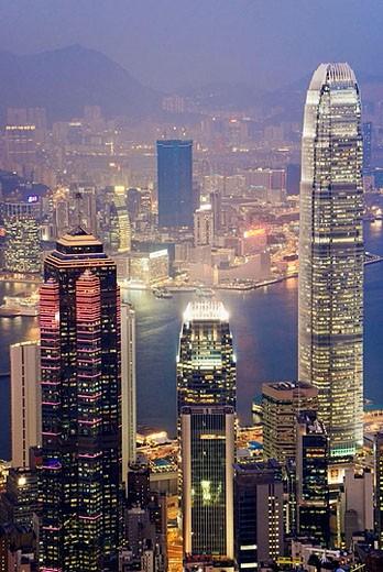 Asia, China, Hong Kong, 2006, international finance centre night : Stock Photo