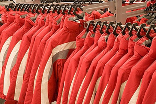 Stock Photo: 1566-368093 Sports clothes outlet, clearance sale.