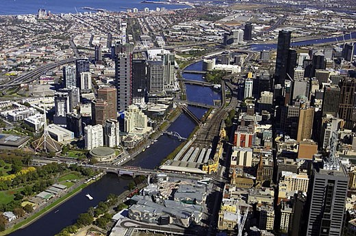 Melbourne CBD and Yarra River, Victoria, Australia _ aerial : Stock Photo