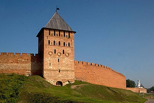 Stock Photo: 1566-370289 Court tower. Fortifications wall. Novgorod The Great. Russia.