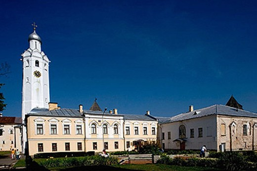 Stock Photo: 1566-370290 Kremlin buildings. Bell tower (XVIIth c.) Novgorod the Great. Russia.