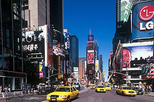 Taxi cabs at Times Square, Manhattan, NYC. USA : Stock Photo