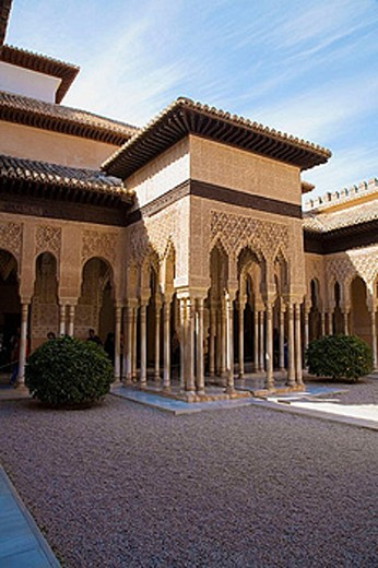 Courtyard of the Lions, Alhambra. Granada. Andalusia. Spain : Stock Photo