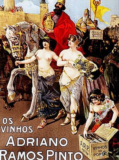 Sexy and art nouveau advertising posters commissioned by Adriano Ramos Pinto, the founder of the firm which bears his name. Port wine (Vinho do Porto). Oporto. Portugal : Stock Photo