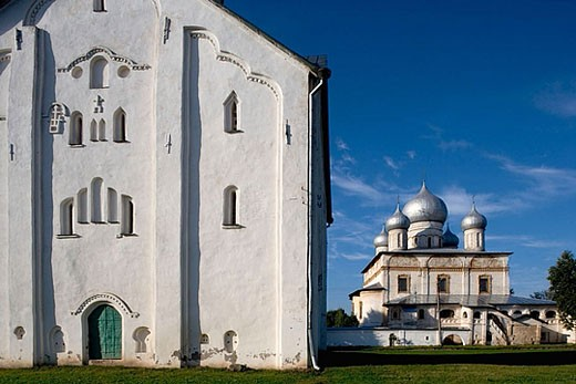 Commercial Quarter, church of the Transfiguration of Our Saviour, 1374. Novgorod the Great. Russia. : Stock Photo
