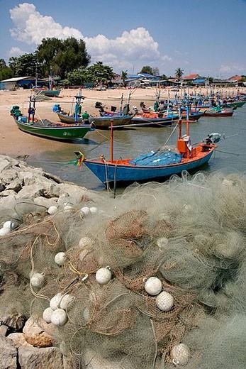 Cha-am fishing village.Thailand : Stock Photo