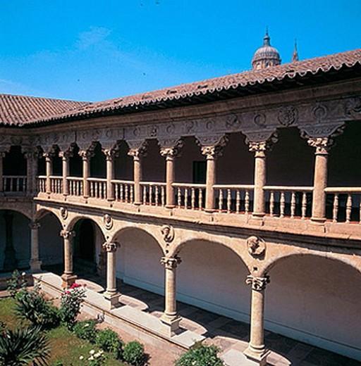 Cloister of Santa María de las Dueñas convent, Salamanca. Castilla-León, Spain : Stock Photo