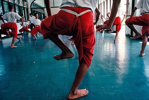 Dancing class at College of Dramatic Arts (Wittayalai Natthasin). Bangkok city. Thailand. : Stock Photo