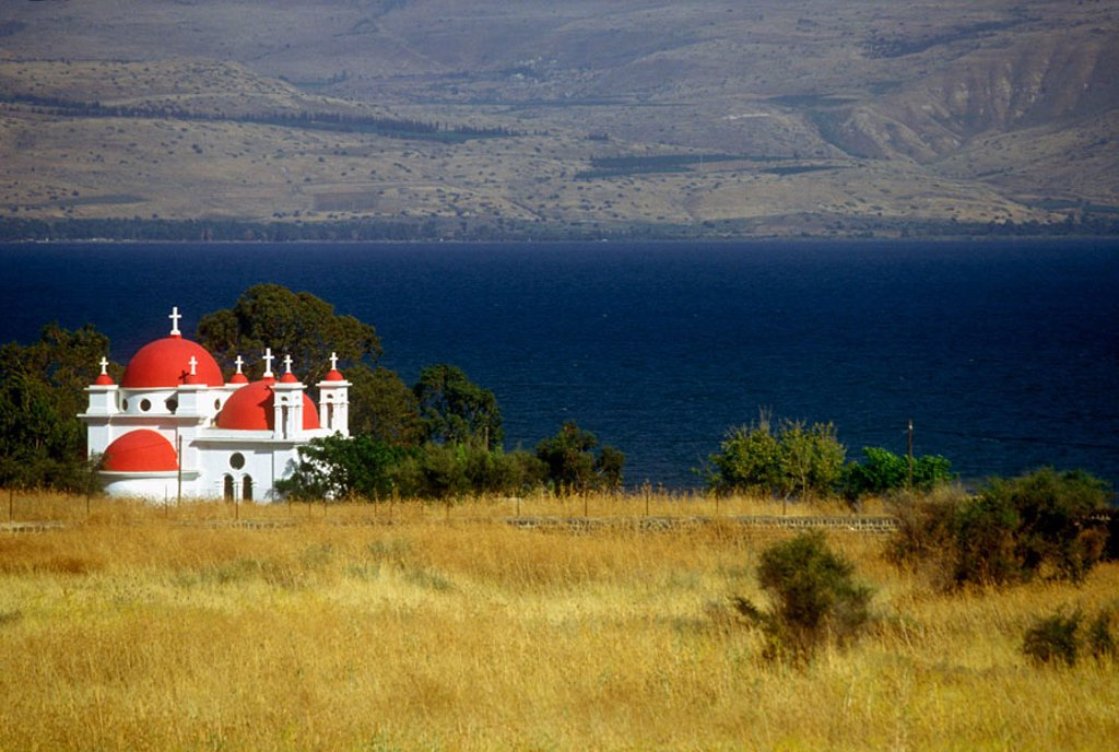 Stock Photo: 1566-373559 Greek Orthodox church by Sea of Galilee. Israel