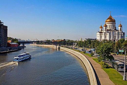 Cathedral of Christ the Saviour, Moscow River, Moscow. Russia : Stock Photo