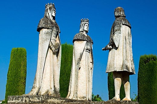 Stock Photo: 1566-374952 Statues of Queen Isabel, King Fernando and Christopher Columbus in Alcazar gardens. Cordoba. Andalusia, Spain