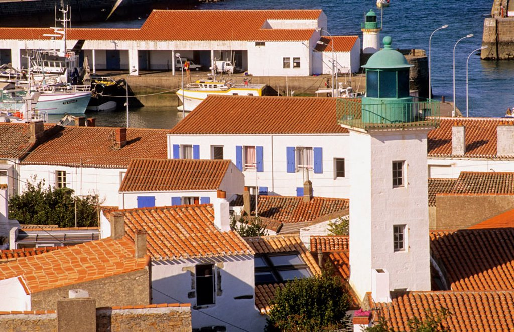 Stock Photo: 1566-375138 Village of Port Joinville (capital). Île d´Yeu. Vendée department. France.