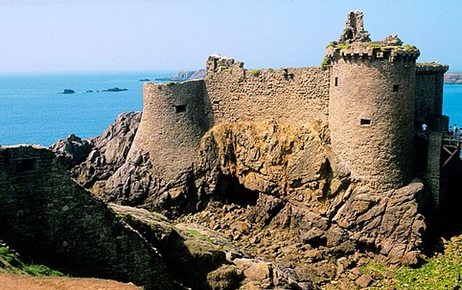 Stock Photo: 1566-375170 Mentioned for the first time in 1356, a castle is built on a rocky islet south of the island, separated by a large ditch which still exists. Île d´Yeu. Vendée department. France.