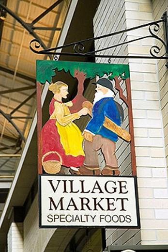 Ferry building farmer´s market. Village market store sign. San Francisco. California. USA. : Stock Photo