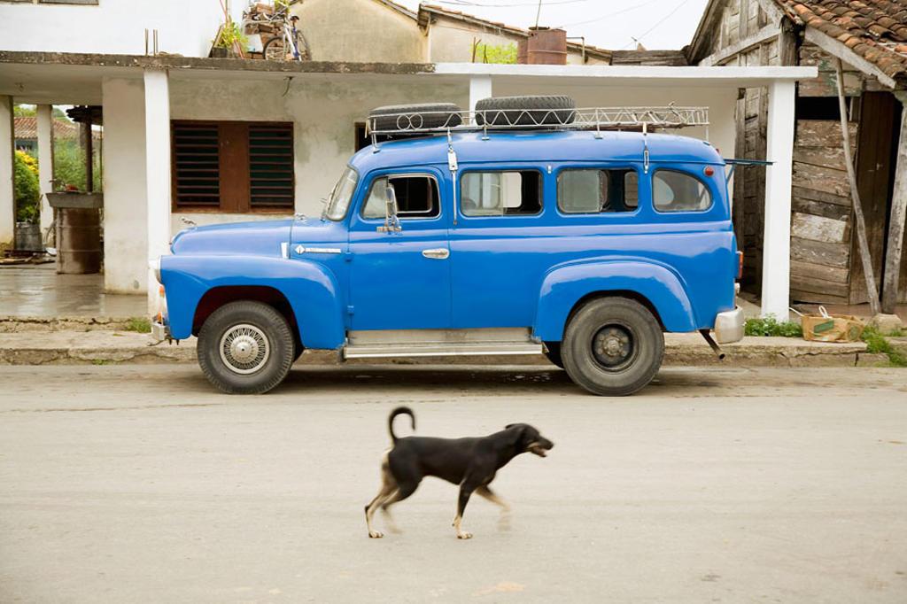 In the road to Sancti Spíritus, in Placetas (Villa Clara). 1949 car. Sancti Spiritus. Cuba : Stock Photo