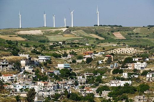 Central Iraklio Town and modern windmills. Ano Moulia. Iraklio Province. Crete. Greece : Stock Photo