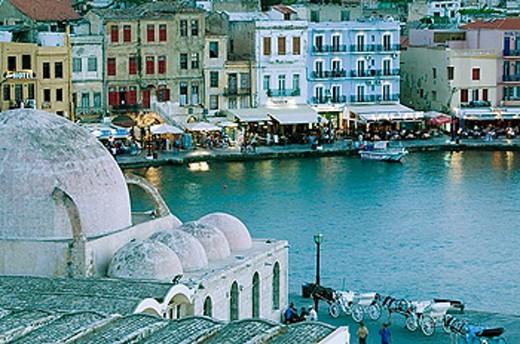 Venetian Port with Mosque of Kioutsouk Hasan. Evening. Hania. Hania Province. Crete, Greece. : Stock Photo