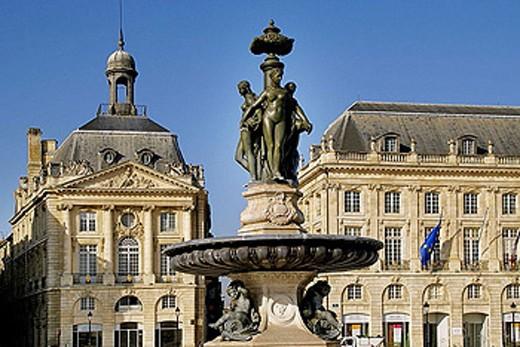 ´Trois Graces´ statue, at Place de la Bourse, at Bordeaux. Gironde. France. : Stock Photo