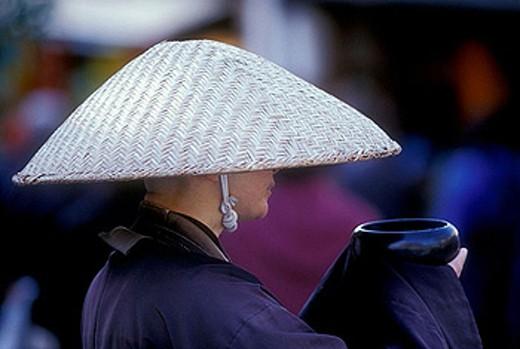 Monk begging, Japan : Stock Photo