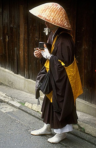 Shinto monk begging, Japan : Stock Photo