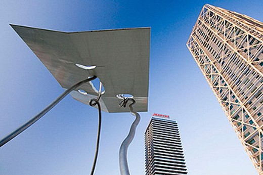 Stock Photo: 1566-378386 David and Goliath sculpture, Hotel Arts and Mapfre Tower, Barcelona, Spain