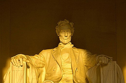 Statue of Abraham Lincoln, Lincoln Memorial, Washington, District of Columbia, USA : Stock Photo